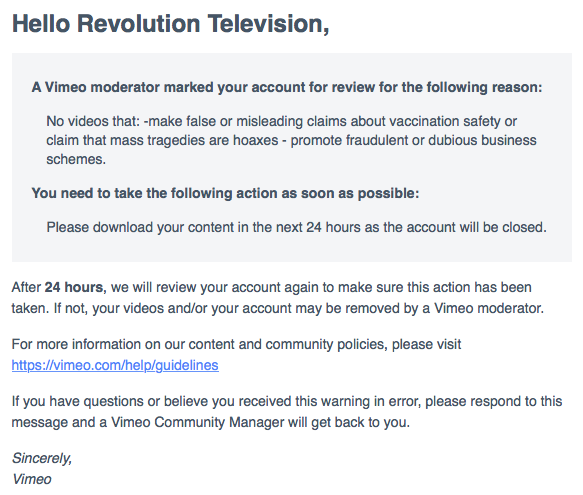 Chelsea Clinton co-directs IAC, parent of Vimeo who sent this notice to Dr. Horowitz's Revolution Television service.